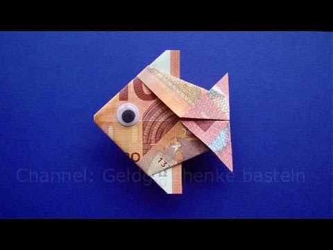 Geldscheine falten Fisch: Tiere basteln für Geldgeschenke - Geld falten zur Hochzeit - Origami