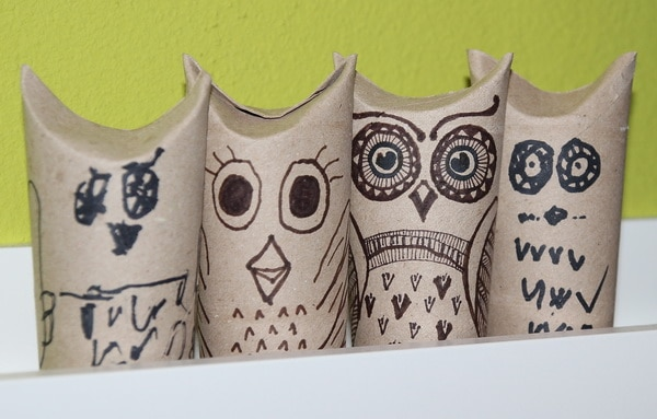 Klorollen-Upcycling: selbstgemachte Eulen-Familie