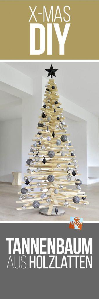 Tannenbaum aus Holzlatten: DIY Anleitung, selbstgemachter Weihnachtsbaum, Christbaum