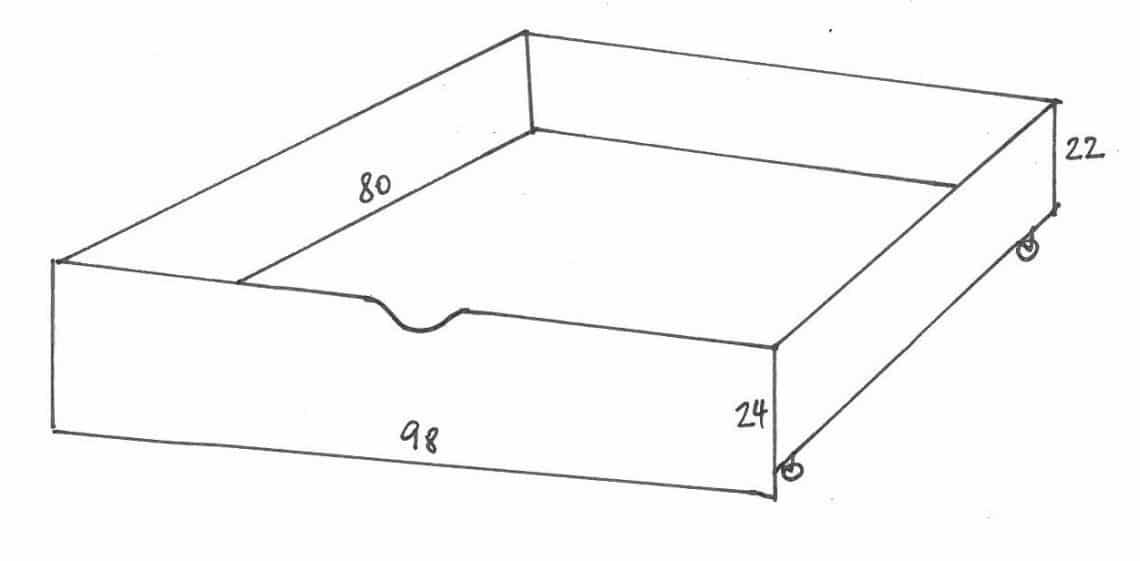 IKEA Kura Hack: Podest für IKEA Kura Bett Skizze Lade
