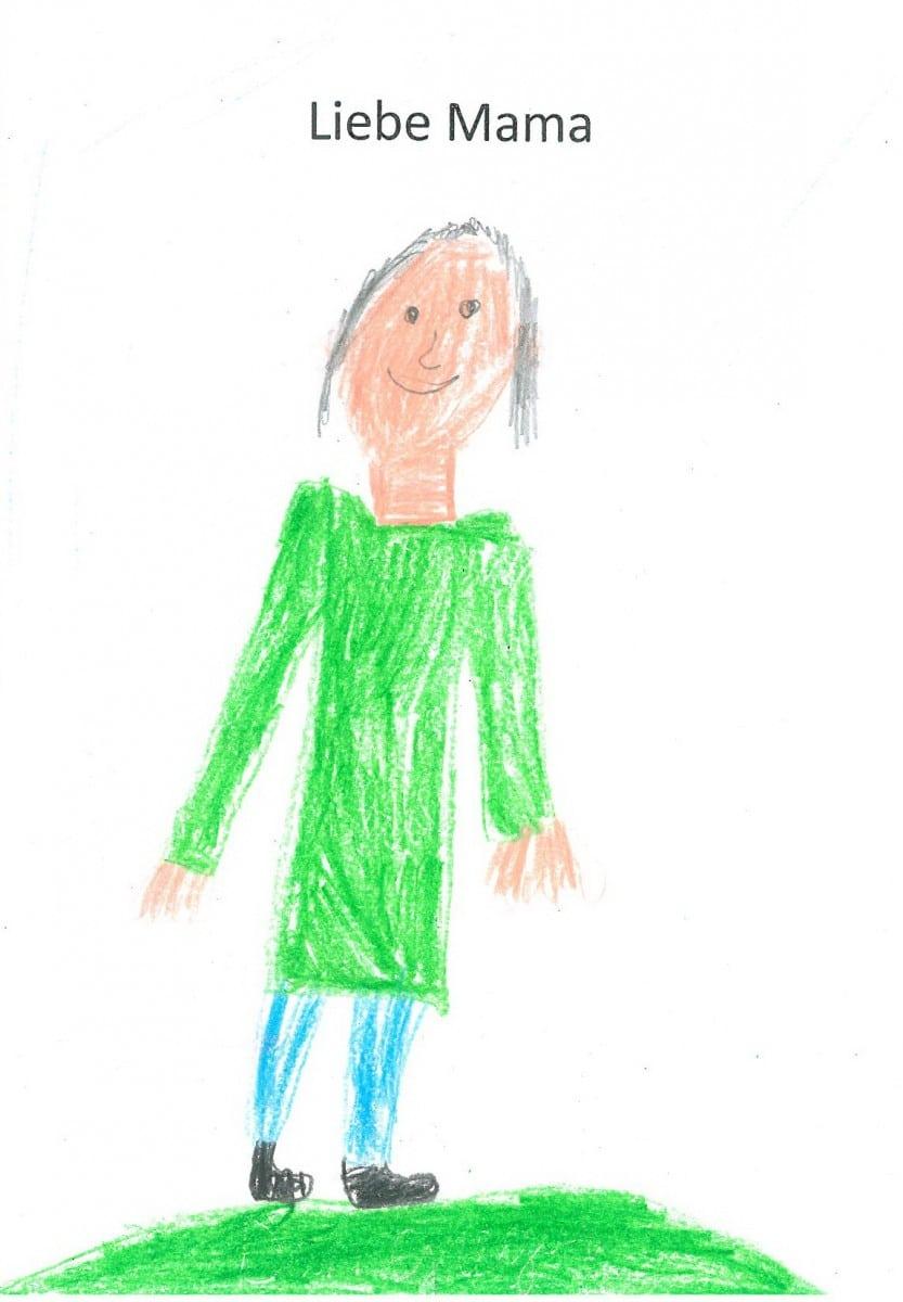 Portrait Mama, gezeichnet von Sohnemann, 7 Jahre