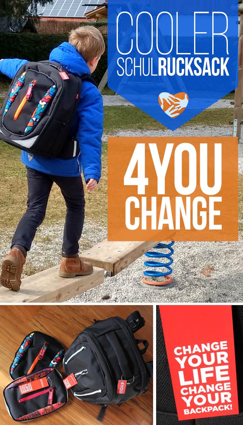 Schulrucksack 4YOU CHANGE: individualisierbar dank auswechselbarer Frontflaps, übersichtlich weil voll aufklappbar.