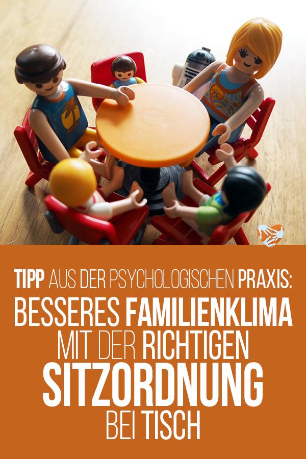 Die Sitzordnung macht den Unterschied! Harmonie in der Familie: Besseres Familienklima mit Hilfe der richtigen Sitzordnung bei Tisch, ein Tipp aus der psychologischen Praxis