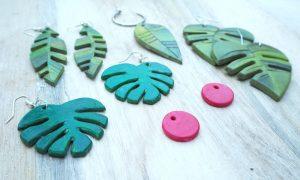Basteln mit Kindern: tropische DIY Statement-Ohrringe – geprickelt und gewalzt