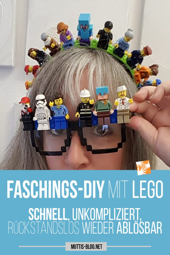 DIY Idee für den Fasching Karneval mit Lego basteln: DIY Lego Headpiece, Lego Brille