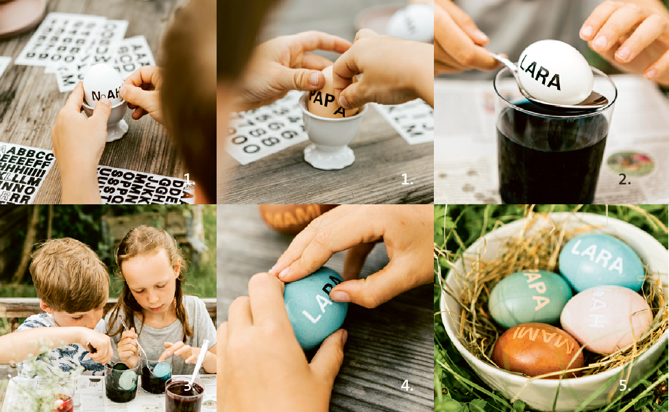 Ostereier färben mit Kindern: Ei mit Botschaft