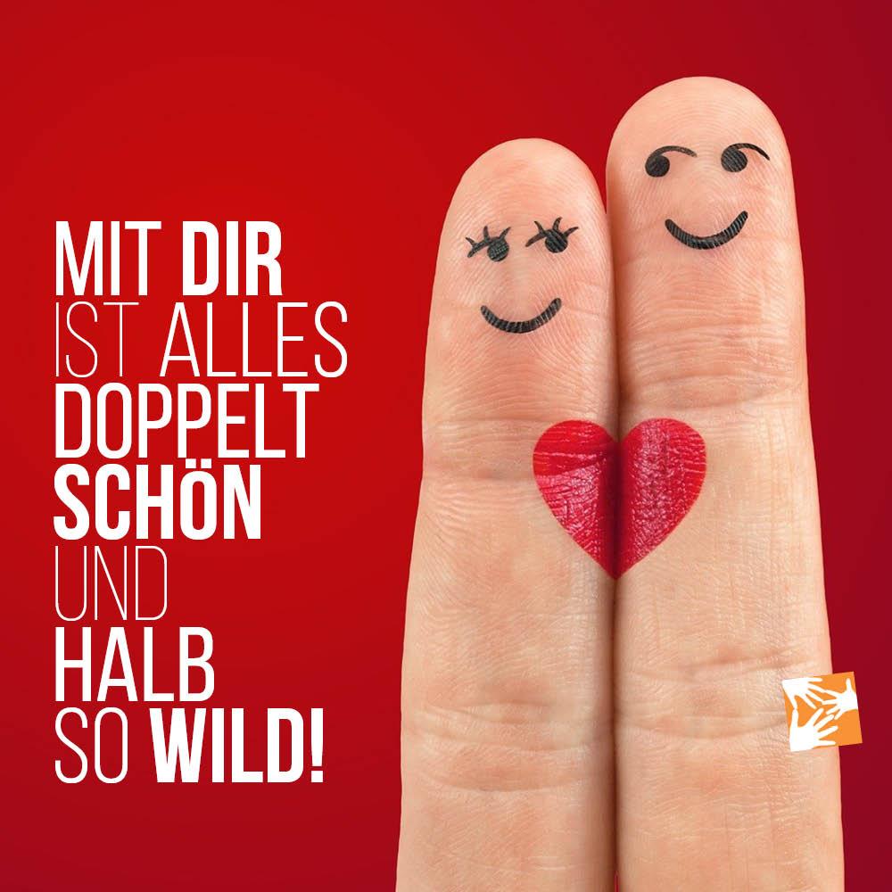 Liebe Zitate, Sprüche zum Valentinstag: Mit dir ist alles doppelt schön und halb so wild