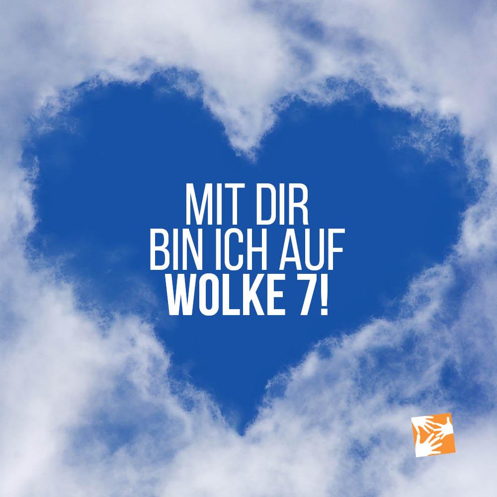 Liebe Zitate, Sprüche zum Valentinstag: Mit dir bin ich auf Wolke 7